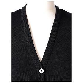 Gilet noir pour soeur avec poches col en V 50% acrylique 50% laine mérinos In Primis s2