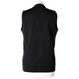 Gilet noir pour soeur avec poches col en V 50% acrylique 50% laine mérinos In Primis s6