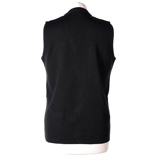 Gilet noir pour soeur avec poches col en V 50% acrylique 50% laine mérinos In Primis 6