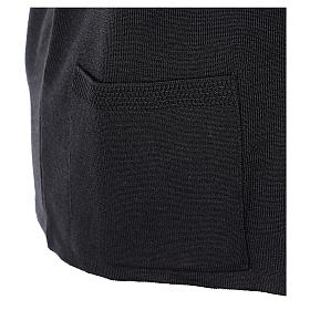 Gilet nero suora con tasche collo a V 50% acrilico 50% lana merino In Primis s5