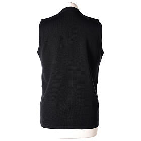 Gilet nero suora con tasche collo a V 50% acrilico 50% lana merino In Primis s6