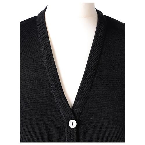 Gilet nero suora con tasche collo a V 50% acrilico 50% lana merino In Primis 2