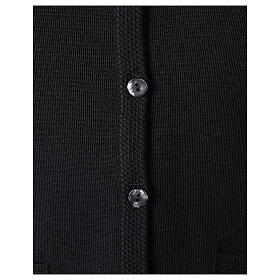 Colete preto decote em V para freira com bolsos 50% acrílico, 50% lã de merino linha
