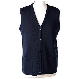 Damen-Weste, blau, mit Taschen und V-Ausschnitt, 50% Acryl - 50% Merinowolle, In Primis s1