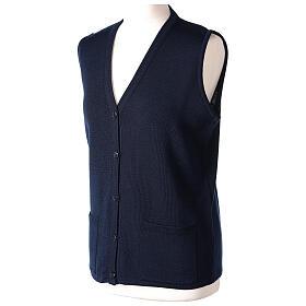 Damen-Weste, blau, mit Taschen und V-Ausschnitt, 50% Acryl - 50% Merinowolle, In Primis s3