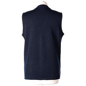 Damen-Weste, blau, mit Taschen und V-Ausschnitt, 50% Acryl - 50% Merinowolle, In Primis s6