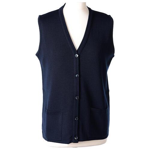 Damen-Weste, blau, mit Taschen und V-Ausschnitt, 50% Acryl - 50% Merinowolle, In Primis 1