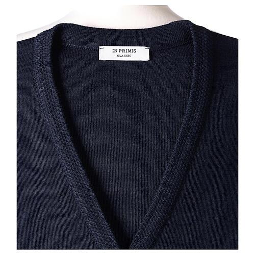 Damen-Weste, blau, mit Taschen und V-Ausschnitt, 50% Acryl - 50% Merinowolle, In Primis 7