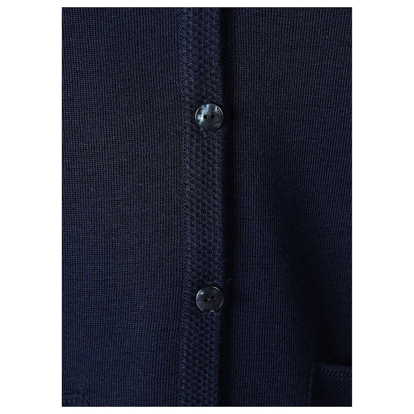 Chaleco azul monja con bolsillos cuello V 50% acrílico 50% lana merina In Primis 4