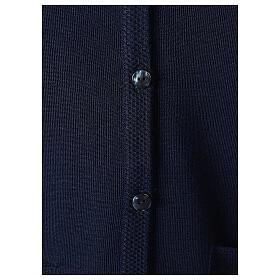 Chaleco azul monja con bolsillos cuello V 50% acrílico 50% lana merina In Primis s4