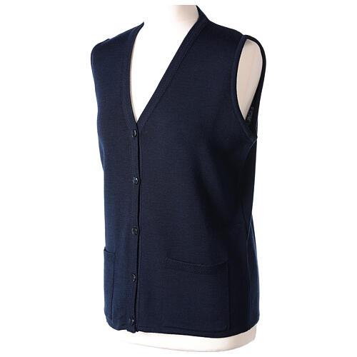 Chaleco azul monja con bolsillos cuello V 50% acrílico 50% lana merina In Primis 3