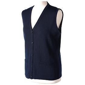 Gilet blu suora con tasche collo a V 50% acrilico 50% lana merino In Primis s3