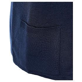 Gilet blu suora con tasche collo a V 50% acrilico 50% lana merino In Primis s5