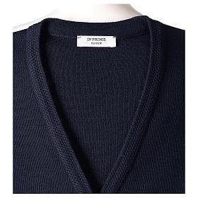 Gilet blu suora con tasche collo a V 50% acrilico 50% lana merino In Primis s7