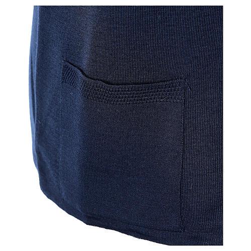 Gilet blu suora con tasche collo a V 50% acrilico 50% lana merino In Primis 5