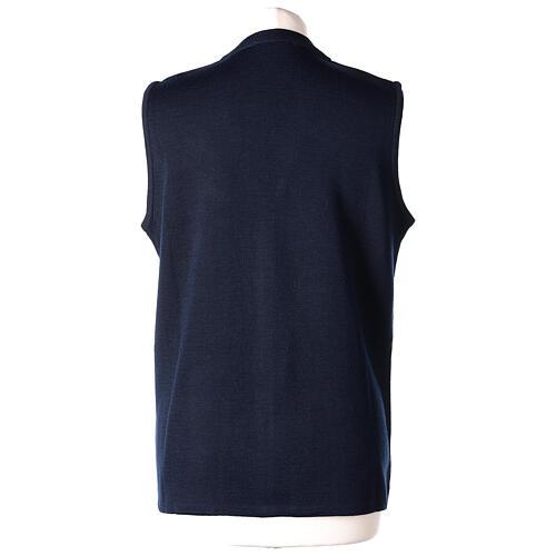 Colete azul decote em V para freira com bolsos, 50% acrílico e 50% lã de merino, linha