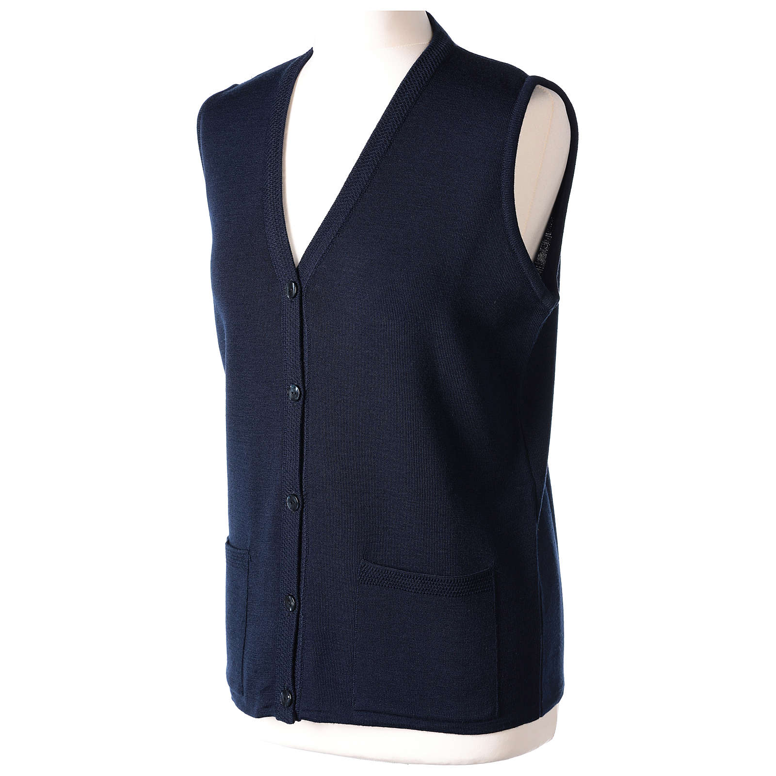 Blue V-neck sleeveless nun cardigan with pockets 50% acrylic 50% merino wool In Primis 4