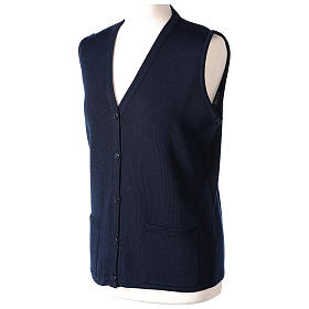 Blue V-neck sleeveless nun cardigan with pockets 50% acrylic 50% merino wool In Primis s3