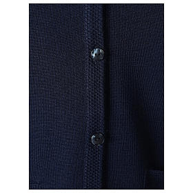 Blue V-neck sleeveless nun cardigan with pockets 50% acrylic 50% merino wool In Primis s4