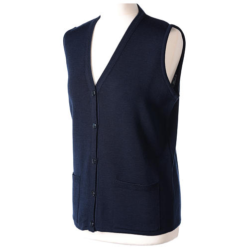 Blue V-neck sleeveless nun cardigan with pockets 50% acrylic 50% merino wool In Primis 3