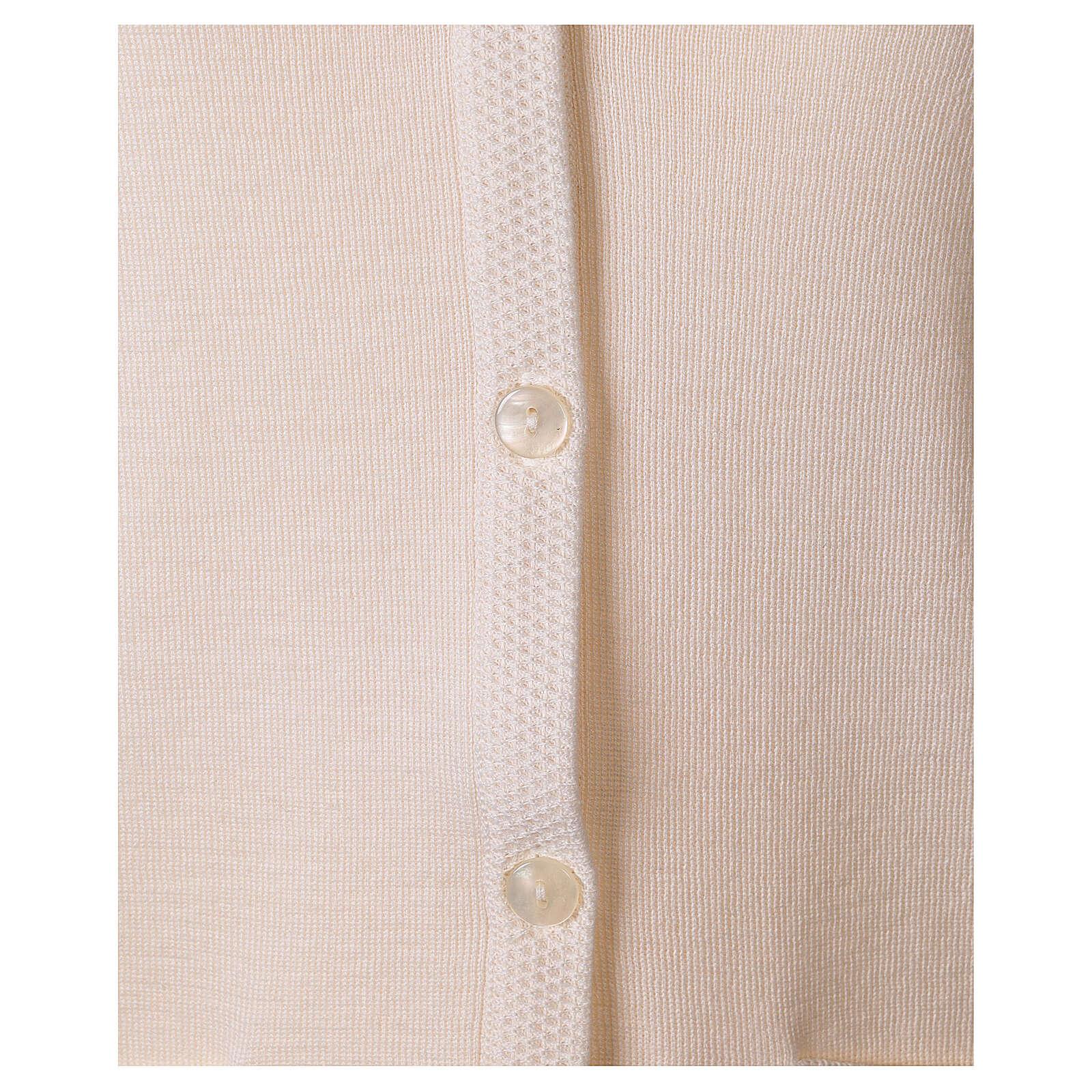 Damen-Weste, weiß, mit Taschen und V-Ausschnitt, 50% Acryl - 50% Merinowolle, In Primis 4