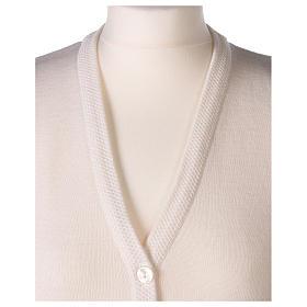 Chaleco blanco monja con bolsillos cuello V 50% acrílico 50% lana merina In Primis s2