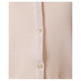 Gilet blanc pour soeur avec poches col en V 50% acrylique 50% laine mérinos In Primis s4