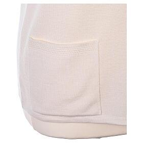 Gilet blanc pour soeur avec poches col en V 50% acrylique 50% laine mérinos In Primis s5