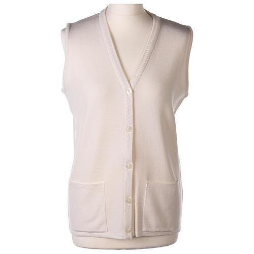 Gilet blanc pour soeur avec poches col en V 50% acrylique 50% laine mérinos In Primis 1