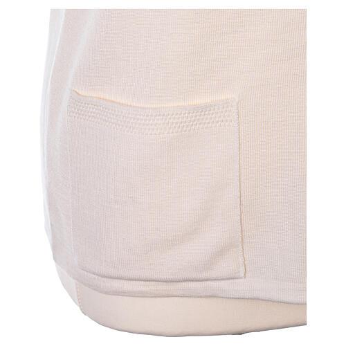 Gilet blanc pour soeur avec poches col en V 50% acrylique 50% laine mérinos In Primis 5