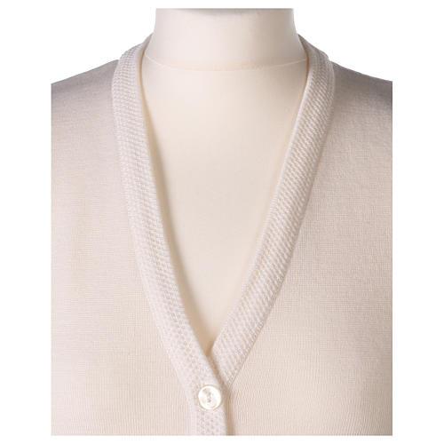 Gilet bianco suora con tasche collo a V 50% acrilico 50% lana merino In Primis 2
