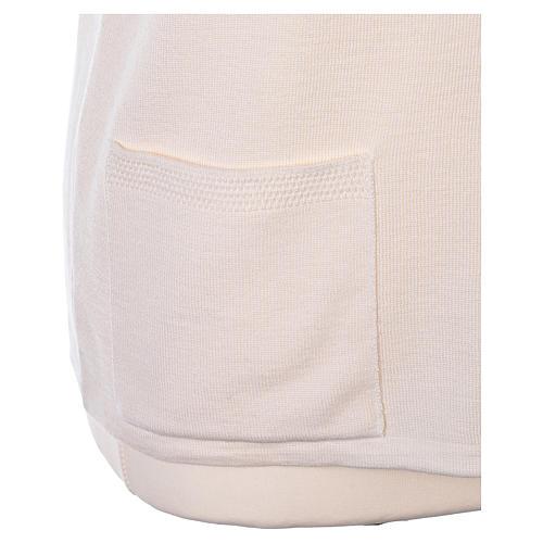 Gilet bianco suora con tasche collo a V 50% acrilico 50% lana merino In Primis 5