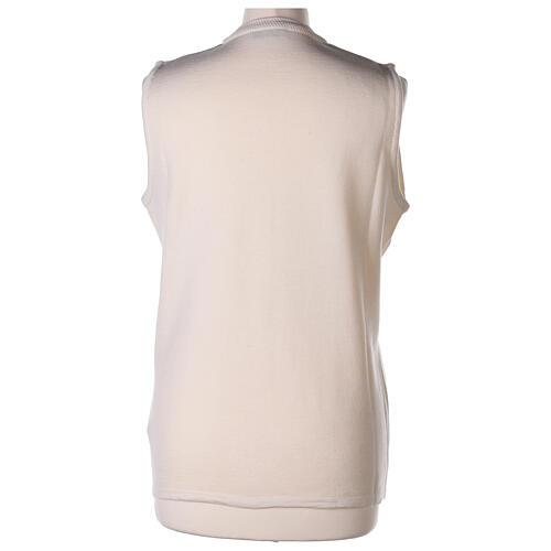 Colete branco decote em V para freira com bolsos, 50% acrílico e 50% lã de merino, linha