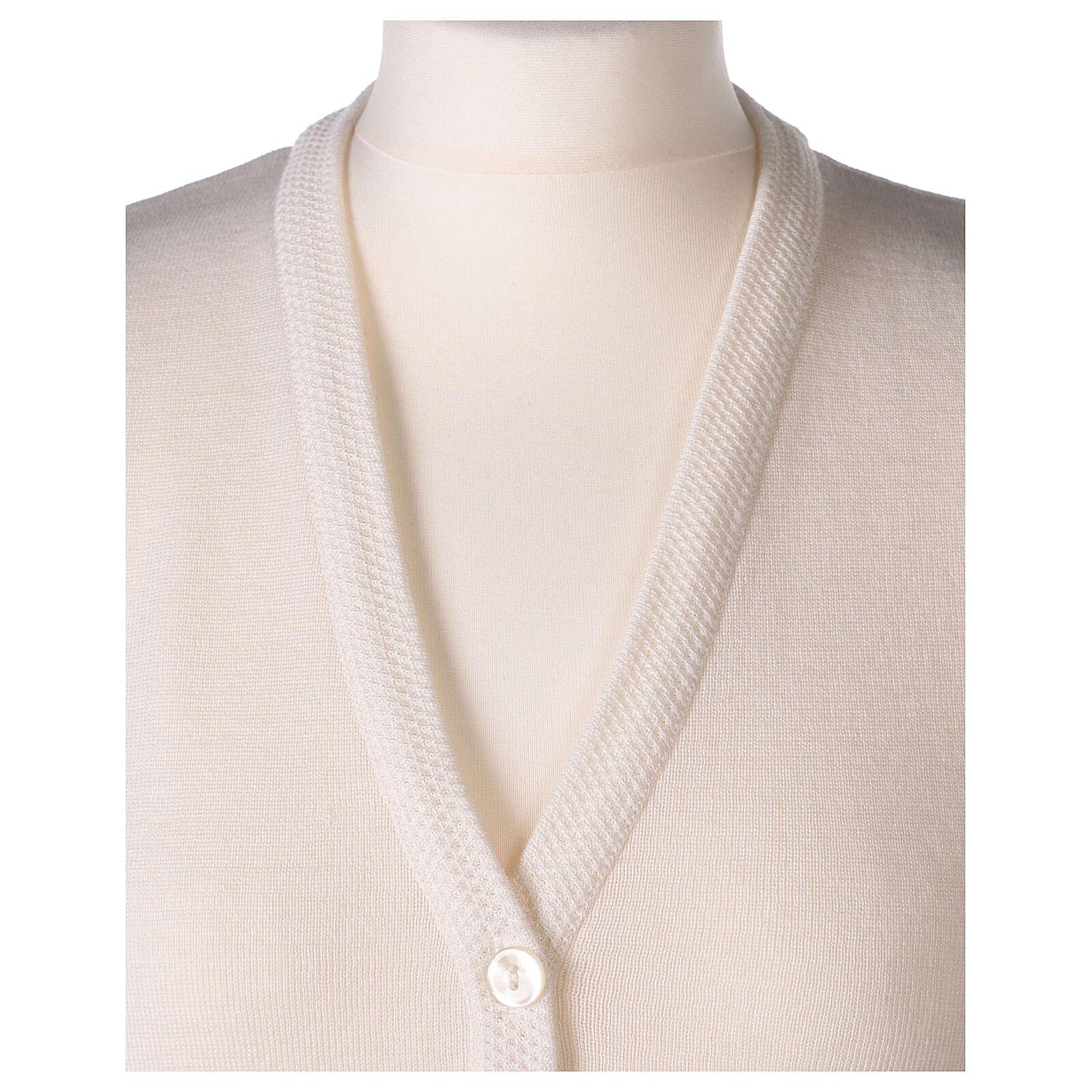 White V-neck sleeveless nun cardigan with pockets 50% acrylic 50% merino wool In Primis 4