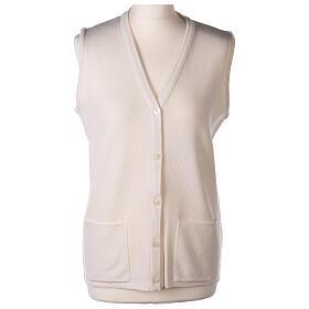 White V-neck sleeveless nun cardigan with pockets 50% acrylic 50% merino wool In Primis s1