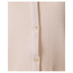 White V-neck sleeveless nun cardigan with pockets 50% acrylic 50% merino wool In Primis s4