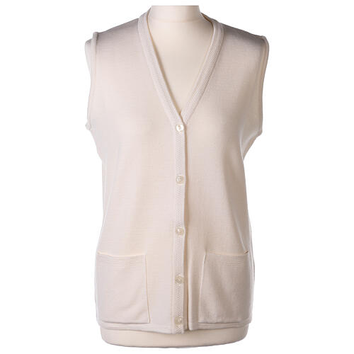 White V-neck sleeveless nun cardigan with pockets 50% acrylic 50% merino wool In Primis 1