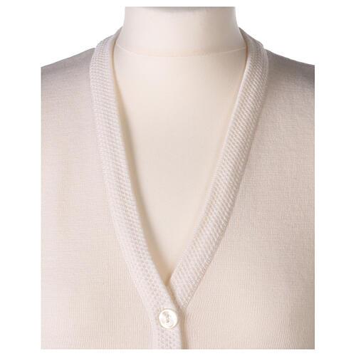 White V-neck sleeveless nun cardigan with pockets 50% acrylic 50% merino wool In Primis 2