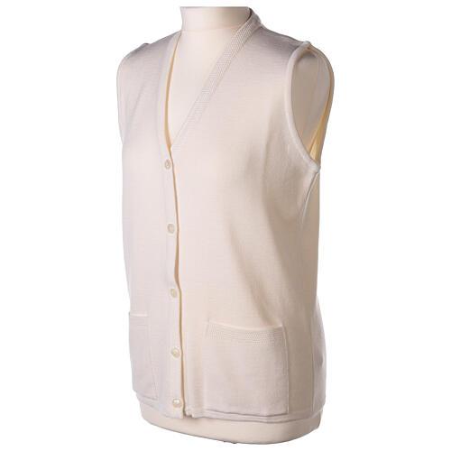 White V-neck sleeveless nun cardigan with pockets 50% acrylic 50% merino wool In Primis 3