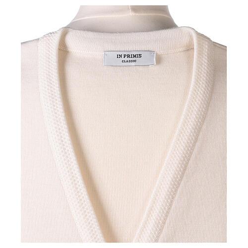 White V-neck sleeveless nun cardigan with pockets 50% acrylic 50% merino wool In Primis 7