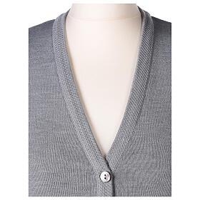 Damen-Weste, perlgrau, mit Taschen und V-Ausschnitt, 50% Acryl - 50% Merinowolle, In Primis s2