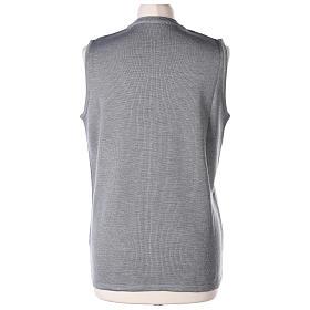 Gilet grigio perla suora con tasche collo a V 50% acrilico 50% lana merino In Primis s6