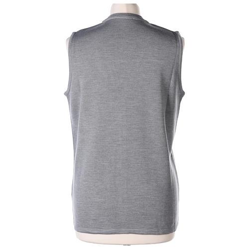 Gilet grigio perla suora con tasche collo a V 50% acrilico 50% lana merino In Primis 6