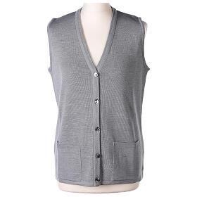 Grey V-neck sleeveless nun cardigan with pockets 50% acrylic 50% merino wool In Primis s1
