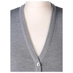 Grey V-neck sleeveless nun cardigan with pockets 50% acrylic 50% merino wool In Primis s2