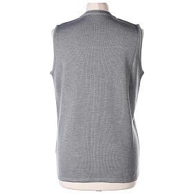 Grey V-neck sleeveless nun cardigan with pockets 50% acrylic 50% merino wool In Primis s6