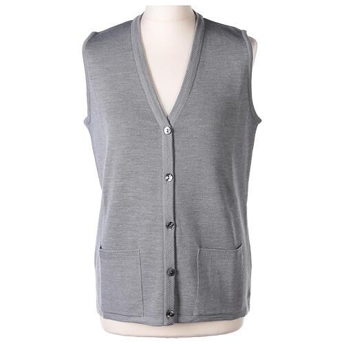 Grey V-neck sleeveless nun cardigan with pockets 50% acrylic 50% merino wool In Primis 1