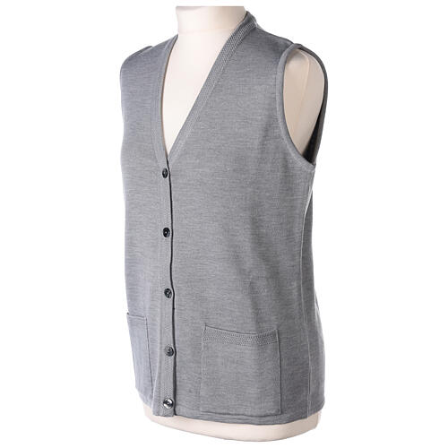 Grey V-neck sleeveless nun cardigan with pockets 50% acrylic 50% merino wool In Primis 3
