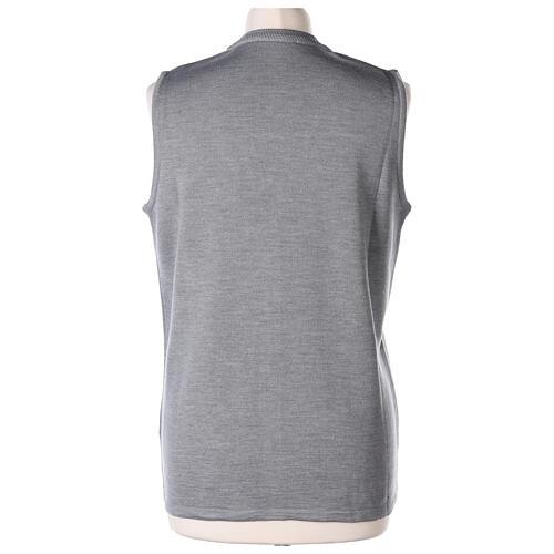 Grey V-neck sleeveless nun cardigan with pockets 50% acrylic 50% merino wool In Primis 6