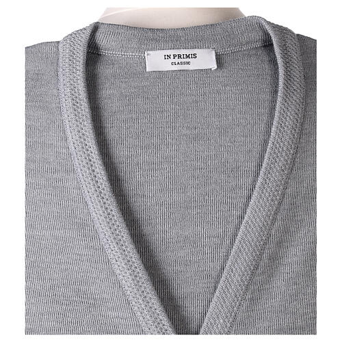 Grey V-neck sleeveless nun cardigan with pockets 50% acrylic 50% merino wool In Primis 7